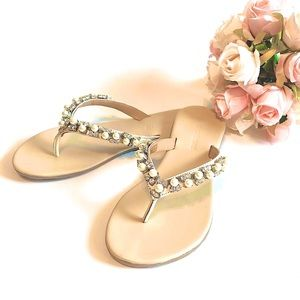 NIB LEATHER LE CHATEAU Jewel Embellished Sandals